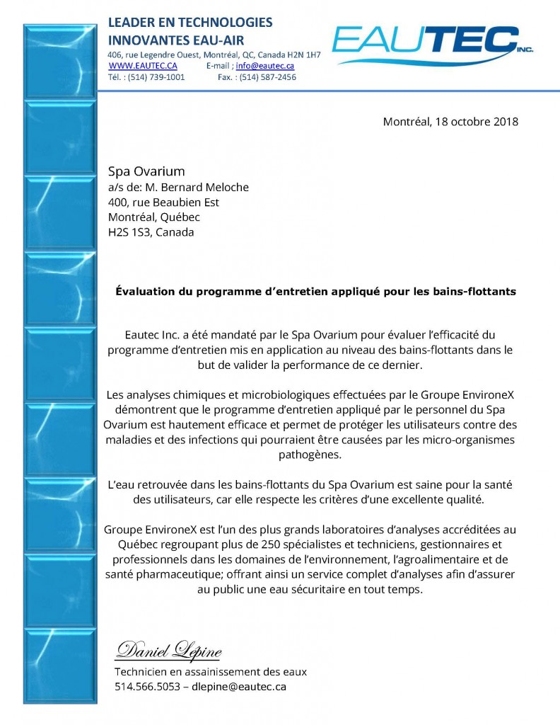eautec attestation qualite eau bain